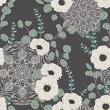 Nahtloses Muster mit weißer Anemone, Eukalyptus und mit aufwändiger Mandala Blumenhintergrund mit Spitzeverzierung stock abbildung