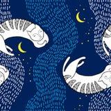 Nahtloses Muster mit weißer Katze Schlafens Stockfotos