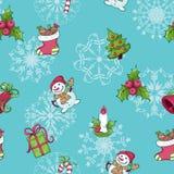 Nahtloses Muster mit Weihnachtsattributen Stockfoto