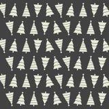 Nahtloses Muster mit Weihnachtsbäumen und Schnee auf dunklem backgrou stock abbildung