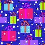 Nahtloses Muster mit Weihnachtsgeschenken Stockfotografie
