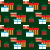 Nahtloses Muster mit Weihnachtsgeschenken Lizenzfreies Stockfoto