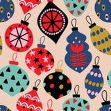 Nahtloses Muster mit Weihnachtskugeln vektor abbildung