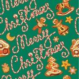 Nahtloses Muster mit Weihnachtslebkuchen Stockfotos