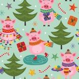 Nahtloses Muster mit Weihnachtsschwein lizenzfreie abbildung
