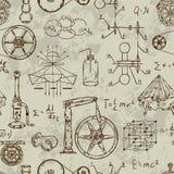 Nahtloses Muster mit Weinlesewissenschaftsgegenständen Wissenschaftliche Ausrüstung für Physik und Chemie Stockfotografie