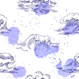 Nahtloses Muster mit Wellen Stockfoto
