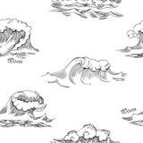 Nahtloses Muster mit Wellen Stockfotos