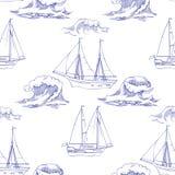 Nahtloses Muster mit Wellen und Schiffen Lizenzfreies Stockbild