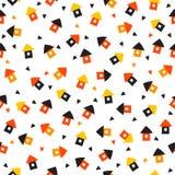 Nahtloses Muster mit wenig Häusern und Herzen Netter Hintergrund Stockfoto