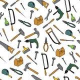 Nahtloses Muster mit Werkzeugen Stockbild