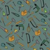 Nahtloses Muster mit Werkzeugen Stockfoto