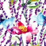 Nahtloses Muster mit wilden Blumen Lizenzfreie Stockfotografie