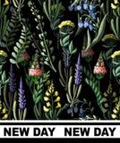 Nahtloses Muster mit wilden Blumen und Slogan für Gewebe entwerfen Auch im corel abgehobenen Betrag Stockfoto
