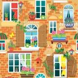 Nahtloses Muster mit Windows und Blumen in den Töpfen Stockfotografie
