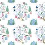 Nahtloses Muster mit Winterhäusern und Schneemänner mit farbigen Bleistiften vektor abbildung
