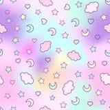 Nahtloses Muster mit Wolken, Mond, Sterne und im Gekritzel stock abbildung