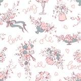 Nahtloses Muster Moderne botanische Illustration blüht Blumenstrauß und floristischen Werkzeugsatz Ist hier ein Foto von 4 Strahl lizenzfreie abbildung