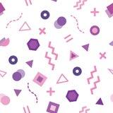 Nahtloses Muster modischer Memphis-Art mit netten geometrischen Formen gefärbt im Pastellpurpur lizenzfreie abbildung