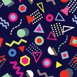 Nahtloses Muster modischer Memphis-Art mit spielerischen geometrischen Formen auf Marinehintergrund stock abbildung