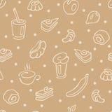 Nahtloses Muster, Morgenkaffee, Tee und Frühstücksgebäck Stockfotos
