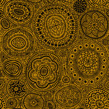 Nahtloses Muster Nahtlose botanische Beschaffenheit, ausführliche Punkte und Kreisillustrationen Ethnisches Muster in der Gekritz Stockfotografie