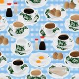 Nahtloses Muster Nanyang-Frühstücks Stockfoto