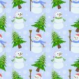 Nahtloses Muster nette Schneemann und des Weihnachtsbaums stock abbildung