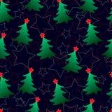 Nahtloses Muster, neues Year& x27; s-Grüntannenbäume Lizenzfreies Stockbild