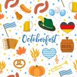 Nahtloses Muster Oktoberfest Oktober-Fest in endlosem Hintergrund Deutschlands Wiederholen von Beschaffenheit mit Bier, Würste un vektor abbildung