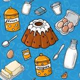 Nahtloses Muster Ostern-Kuchenbestandteil Selbst gemachtes Backen Stock Abbildung