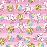 Nahtloses Muster Ostern mit nettem Kaninchen und buntem Ei auf gestreiftem Hintergrund für Kindertapete und Schrottpapier Lizenzfreie Stockbilder