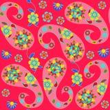 Nahtloses Muster Paisleys mit nettem abstraktem Paisley und Blumen Lizenzfreie Stockbilder