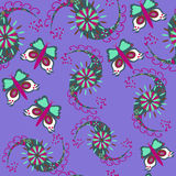 Nahtloses Muster Paisleys mit Schmetterling Stockfotos