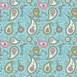 Nahtloses Muster Paisleys und der Blumen Lizenzfreies Stockfoto