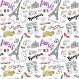 Nahtloses Muster Paris mit Hand gezeichneten Skizzenelementen - Eiffelturm triumf Bogen, Modeeinzelteile Zeichnendes Gekritzelvek Lizenzfreies Stockfoto