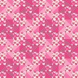 Nahtloses Muster, Patchwork mit Herzen Lizenzfreies Stockfoto