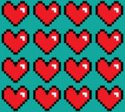 Nahtloses Muster Pixelated-Herzen Lizenzfreie Stockfotos
