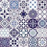 Nahtloses Muster portugiesischer Vektor Azulejo-Fliese, Retro- altes Fliesenmosaik Lissabons, sich wiederholender Marineblau-Text stock abbildung