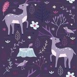 Nahtloses Muster-purpurroter Wald mit Rotwild Stockbild