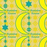 Nahtloses Muster Ramadan Kareem-Mondfallstern Ketupat lizenzfreie abbildung