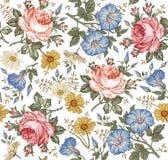 Nahtloses Muster Realistische Blumen Geometrische Verzierung auf einem alten Papier Kamillen-Rose Petunia-Wildflowers Lizenzfreies Stockfoto
