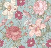 Nahtloses Muster Realistische lokalisierte Blumen Geometrische Verzierung auf einem alten Papier Lizenzfreie Stockbilder