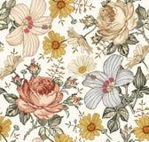 Nahtloses Muster Realistische lokalisierte Blumen Geometrische Verzierung auf einem alten Papier Lizenzfreies Stockbild