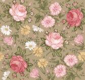 Nahtloses Muster Realistische lokalisierte Blumen Geometrische Verzierung auf einem alten Papier Lizenzfreies Stockfoto