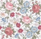 Nahtloses Muster Realistische lokalisierte Blumen Geometrische Verzierung auf einem alten Papier Lizenzfreie Stockfotografie