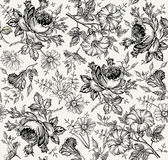 Nahtloses Muster Realistische lokalisierte Blumen Geometrische Verzierung auf einem alten Papier Kamillen-Rose Petunia-Wildflower Stockfotos