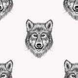 Nahtloses Muster realistischen Wolfs Gesicht der Skizze Hand gezeichnet Lizenzfreie Stockfotos