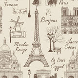 Nahtloses Muster Reise-Paris Ferien in Europa-Tapete Lizenzfreie Stockfotos