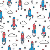 Nahtloses Muster Rockets in der Karikaturart Lizenzfreie Stockbilder